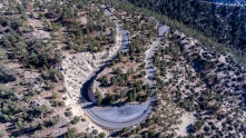 Angeles National Forest, CA - Highway 2, Angeles Creat Highway is located in the San Gabriel Mountains. The photo was taken West of Cloudburst Summit. The photo features a hairpin turn.
