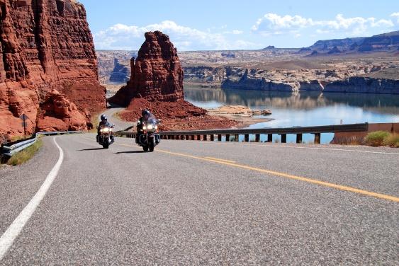 motorcycle riding at lake powell